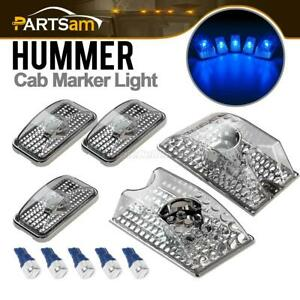 5 Clear Lens Roof Top Marker Lights blue W5w 5730 Led Bulb For 03 09 Hummer H2