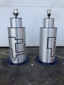 Vintage Acrylic And Metal Lamps Light Mid Century Modern