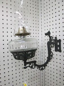 Col Ww Pair Antique Cast Iron Victorian Wall Oil Lamps Light