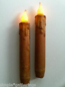 6 Rust Timer Taper Candles 6 5 Led Grungy Primitive Battery Rustic Farmhouse