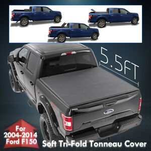 For 04 14 Ford F150 Fleetside 5 5ft Truck Bed Soft Tri Fold Tonneau Cover