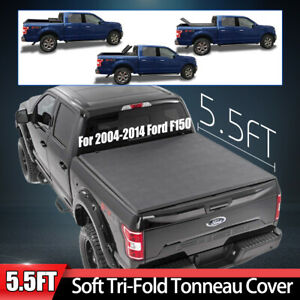 Tonneau Cover Soft Tri Fold Fit 2004 14 Ford F150 Pickup Truck Black 5 5ft Bed
