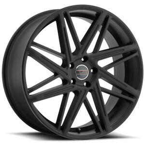 4 22 Inch Milanni 9062 Blitz 22x9 5x120 15mm Satin Black Wheels Rims