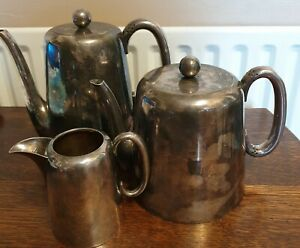 Antique Silver Plate Teapot Water Pot And Milk Jug Walker And Hall