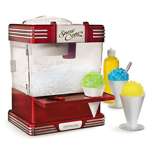Electric Snow Cone Maker Ice Crusher Shaver Machine Shaved Nostalgia Retro Red