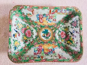 Authentic Antique Qing Guang Cai Porcelain Bowl Plate People Flower Birds Insect