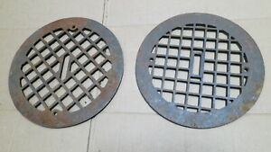 2 Round Cast Iron Grate Vent Covers Craftsman Wall Floor Non Matching