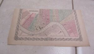 1855 Colton New Orleans Louisiana Antique Color Map Original Pre Civil War 9x15