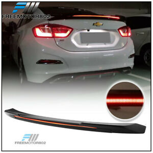 Fits 16 19 Chevy Cruze Sedan Long Led Style Trunk Spoiler Wing Matte Black Abs