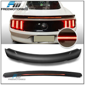 Fits 15 19 Ford Mustang Coupe Long Led Style Trunk Spoiler Matte Black Abs