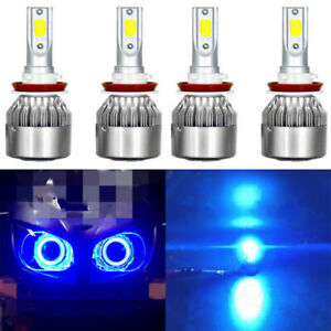 Ice Blue Combo H11 9005 Led Headlight For Gmc Sierra 2500 3500 Hd 2007 14 8000k