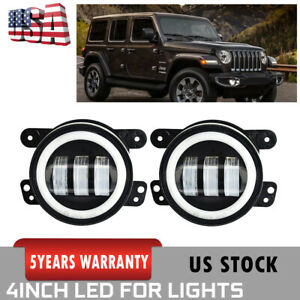 4 Inch 60w Cree Led Fog Light W White Halo Drl Angel Eye For Jeep Wrangler Jk