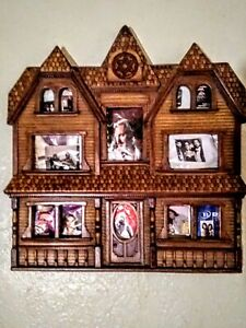Antique My Family House Folk Art Wood Family Home Picture Frame
