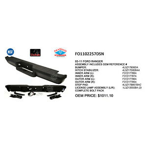 Cpp Nsf Fo1102257 Rear Bumper Face Bar For 98 11 Ford Ranger