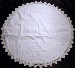 Vintage Antique Linen Hand Embroidered Huge 35 Round Doily With Floral Seascape