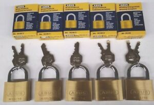 5 New Abus Padlocks 55 50 Solid Brass 2 Wide Padlocks All Keyed The Same