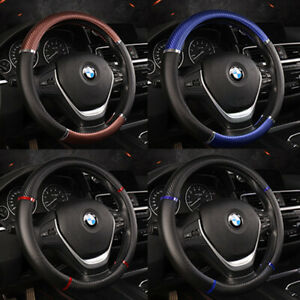 Deluxe Pu Leather Car Steering Wheel Cover 15 Carbon Fiber Tuning Sport Style