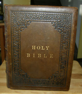 Huge Antique 1856 Catholic Family Bible Douay Rheims Original Blank Family Pages