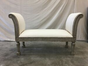 Beautiful Vintage French Upholstered Bench Window Seat