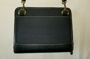 Franklin Covey Classic 6 Ring Binder Black Leather fabric With Strap