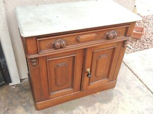 American Victorian Walnut Commode Marble Top Antique Carved Handles Local Pickup