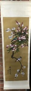 Antique Fine Chinese Cherry Blossoms Birds Silk Scroll Painting Art