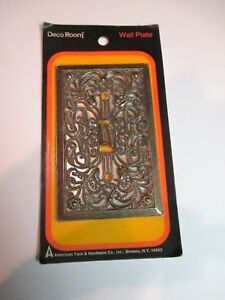 Vtg Sgl Switch Cover Plate Filigree Ant Brass Deco Room American Tack Hardware