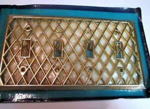 Vtg Four Switch Cover Lattice White Deco Room American Tack Hardware 131tt Tw