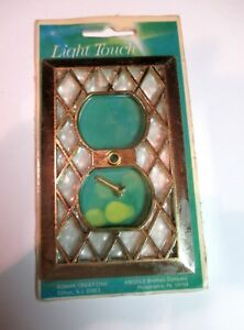Vtg Double Outlet Cover Light Touch By Edmar Angelo Bros Co Lattice Brass 74335