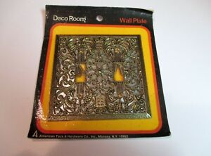Vtg Double Switch Cover Filigree Ant Brass Deco Room American Tack Hardware 65tt