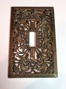 Vtg Single Switch Cover Filigree Ant Brass Deco Room American Tack Hardware