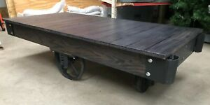Vintage Antique Industrial Factory Railroad Cart For Coffee Table