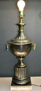 Large Vintage Stiffel Trophy Urn Style Brass Lamp With Rings 1279 25 1 4
