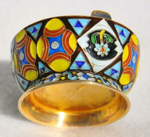 Russian Royal Imperial Tsar 84 Enamel Salt Cellar Holder Spoon Kovsh Ladle Cap