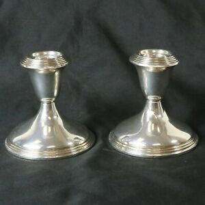 Vintage Pair Empire Sterling Silver Weighted Candlestick Candle Holder 46 Set