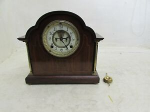 Stunning Edwardian Walnut Ansonia Clock Co Open Escapement Mantel Clock Working