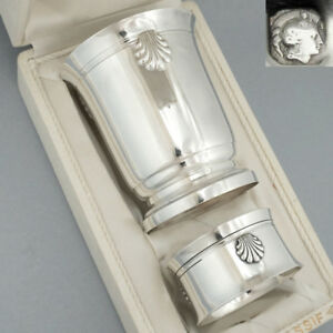 Art Deco French Sterling Silver Tumbler Wine Cup Napkin Ring Set Sea Shells Box