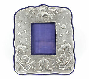 American Sterling Silver Photo Frame W Blue Velvet Backing Zodiac Theme Virgo