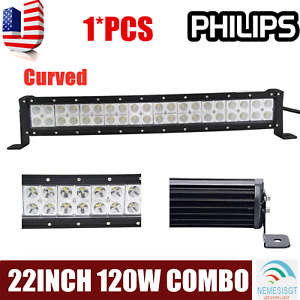 22 inch 120w Spot Flood Combo Led Light Bar Offroad Driving 4wd Atv Boat Truck