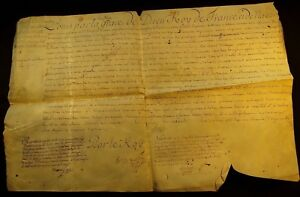 King Louis Xv Autograph On Large Parchment Document Signed By His Hand 1772
