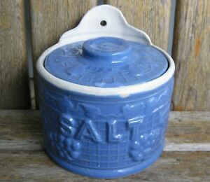 Antique Farmhouse Salt Box Blue Salt Glazed Crock Primitive Vintage Grapes Leaf