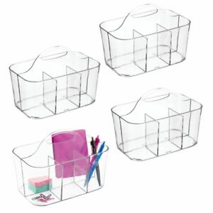 Mdesign Plastic Storage Caddy For Desktop Office Supplies Small 4 Pack Clear