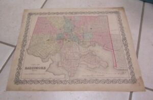 1855 Colton Baltimore Maryland Antique Color Map 15x18 Pre Civil War History
