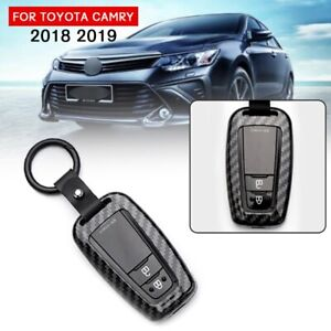 Carbon Fiber Style Black Remote Key Case Cover For Toyota Camry 2018 2019