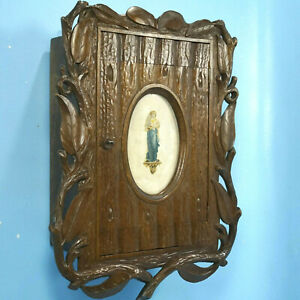 Antique Swiss Black Forest Wood Carving Cigar Wall Cabinet Woman Flute C1880