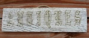 Primitive Antiques Weathered Old Wood Sign Antique Vintage Style Wall Burlap
