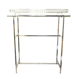 72 Adjustable Height Double Bar Rack With Top Basket Clothing Display