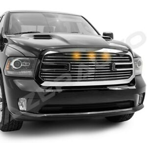 Big Horn 2 Amber Led Chrome Package Grille Grille Shell For 13 18 Dodge Ram 1500