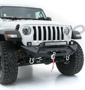 Stealth Front Bumper 22 Led Light Mount Winch Plate For 18 19 Jeep Wrangler Jl