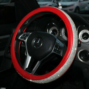Rhinestone Car Steering Wheel Cover 38cm Red Deluxe Pu Leather For Girls Ladies